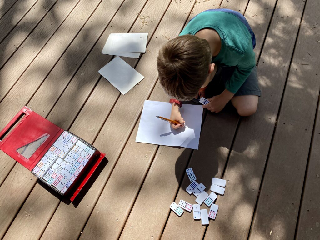 Child studying from vacation