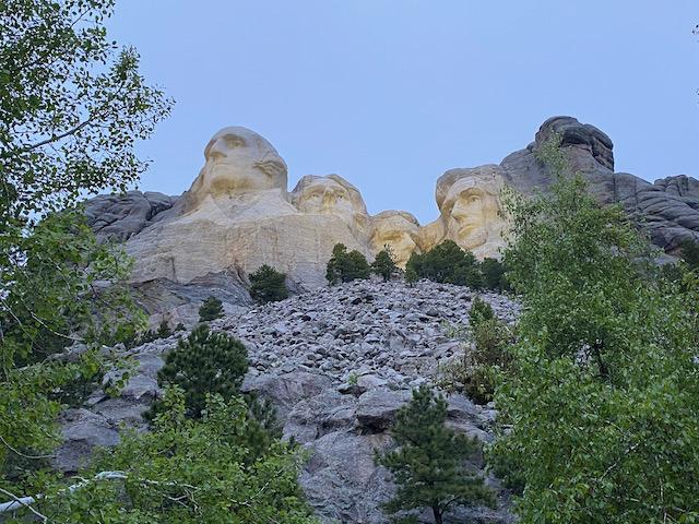 Mount Rushmore lit up