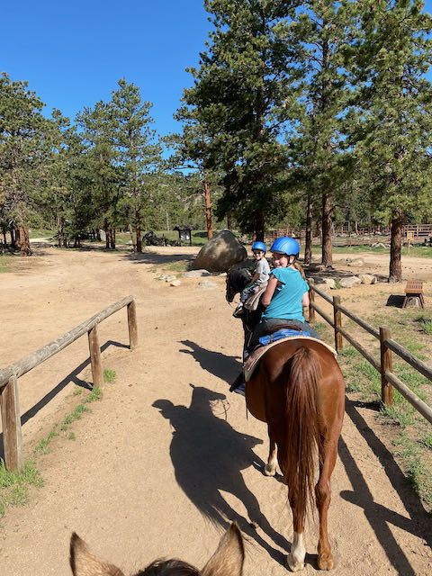 Kids horseback riding in Rocky Mountain National Park