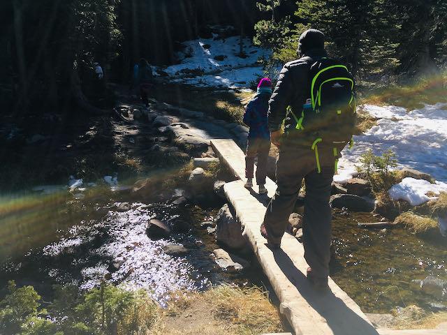 Kids hiking Rocky Mountain National Park